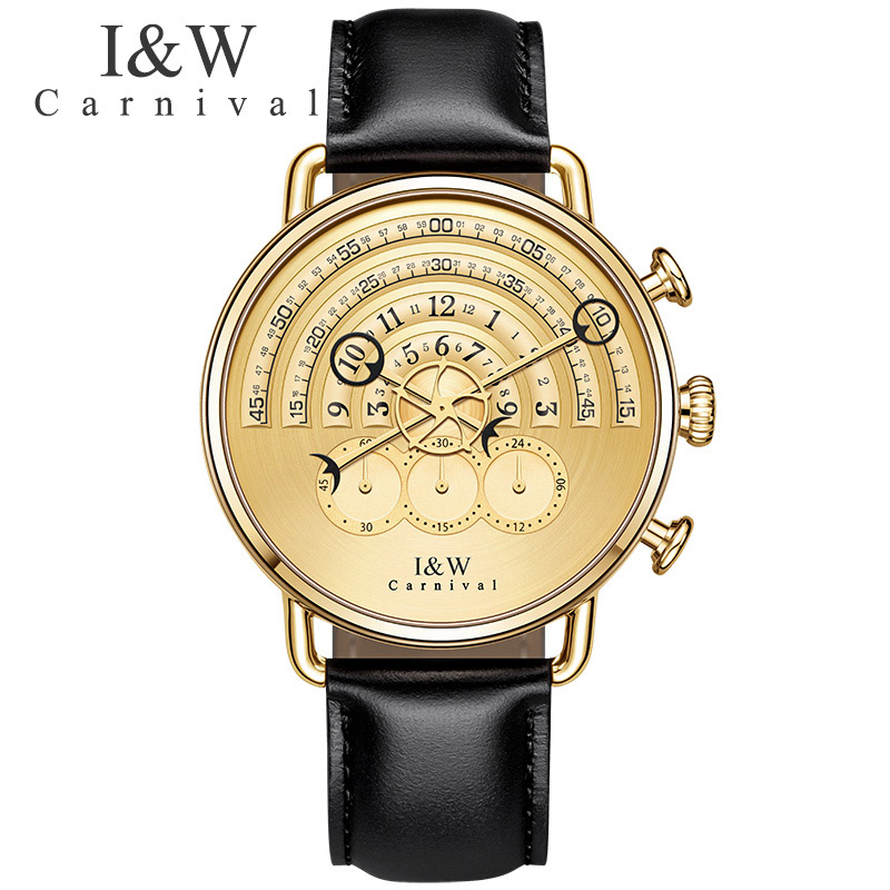 Runway design Multifunction Watches Carnival Men Chronograph Sports Quartz Watch Black Leather Wristwatches Sapphire Gold Case seiko watch premier series sapphire chronograph quartz men s watch snde23p1