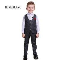 Spring Autumn New Arrive Boys Clothes 3pcs Long Sleeve Shirt Vest Pants Handsome Gentleman Suit Hot