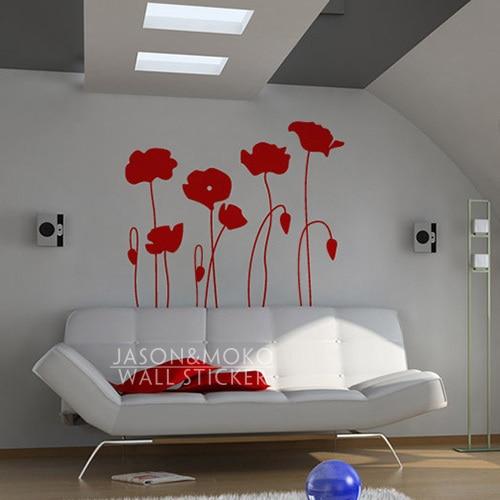 Poppy Flowers Wall Decals Flower Poppy Home Decor Vinyl Wall Sticker Home Decoration wallpaper 100cmX115cm Free Shipping