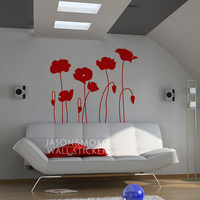 Poppy Flowers Wall Decals Flower Poppy Home Decor Vinyl Wall Sticker Home Decoration wallpaper 100cmX115cm Free Shipping