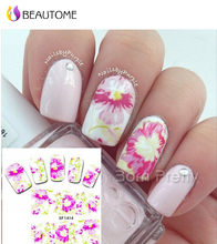 2016 Women Nail Art Tip Decal Beauty Pink Rose Peony Flowers Garden Design  Manicure Nail Art