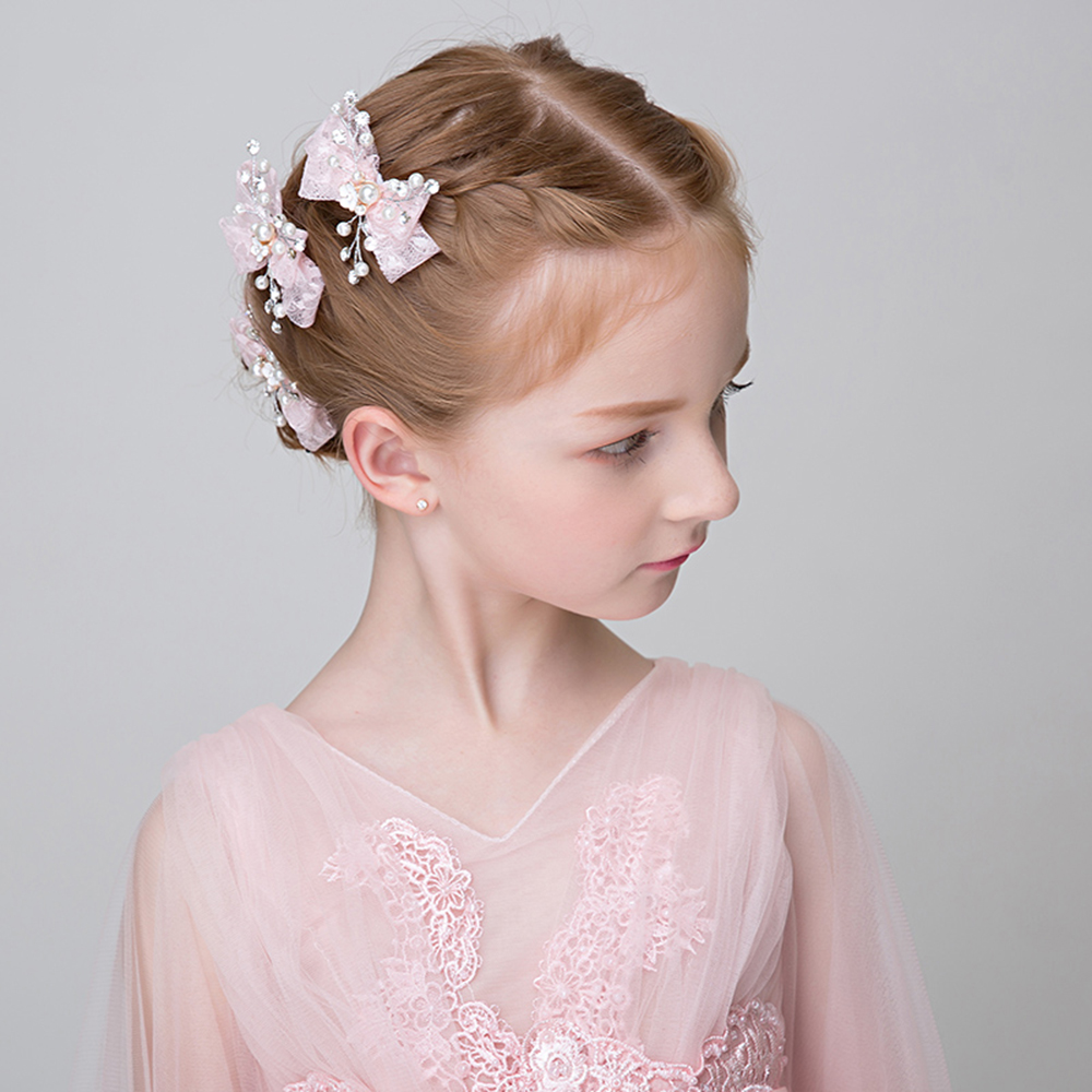 5c4a1dbcc8310 Princess Pink White Lace Bowknot Barrettes Simulated Pearl Hair Ornaments  Headdress Teens Party Hairgrip Flower Girls Hair Clips-in Hair Jewelry from  ...