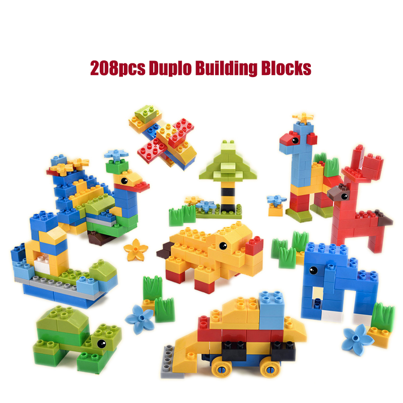 208pcs Big Size Building Blocks DIY Educational Toys Large Particle Building Blocks Toy Compatible with Legd Duplo Blocks kid s home toys large particles happy farm animals paradise model building blocks large size diy brick toy compatible with duplo