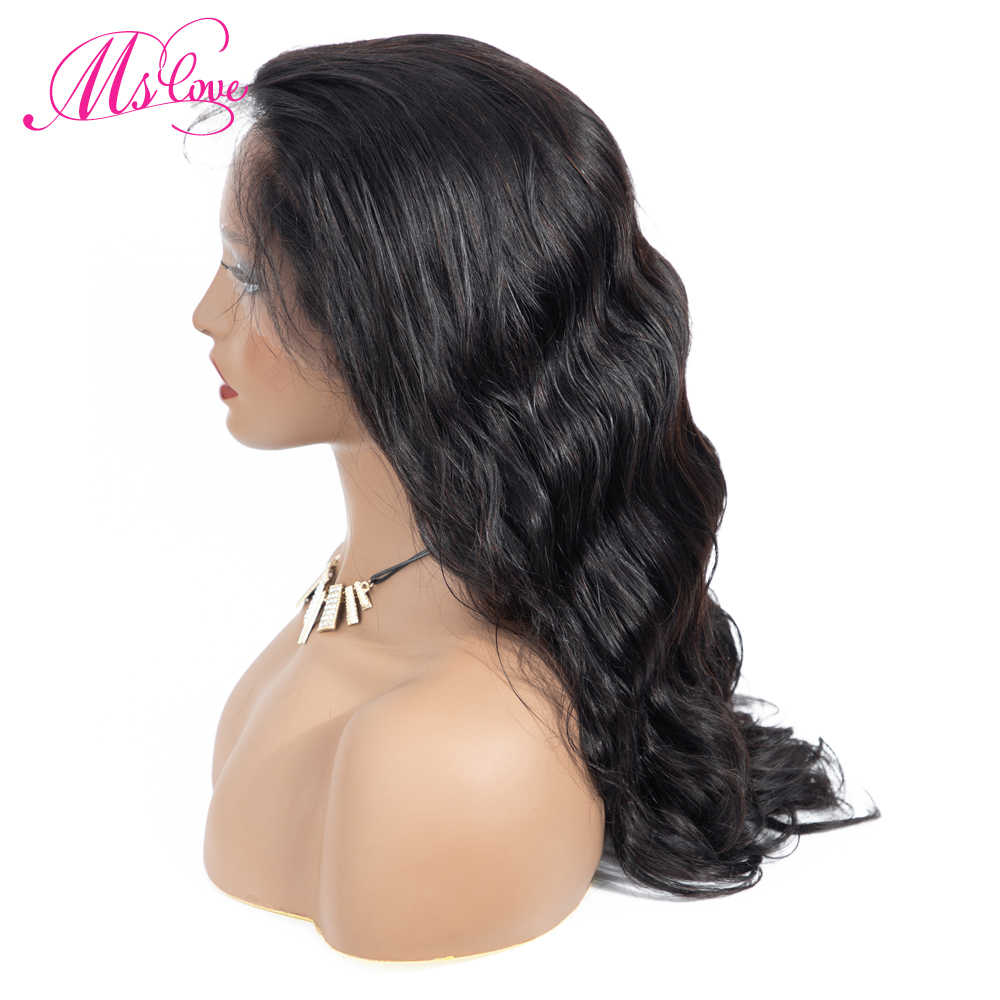 Sutra Dasar Wig Gelombang Tubuh 13X4 Renda Depan Rambut Manusia Wig Digunakan Dipetik Non Remy Brasil Wig untuk Wanita Hitam MS Cinta