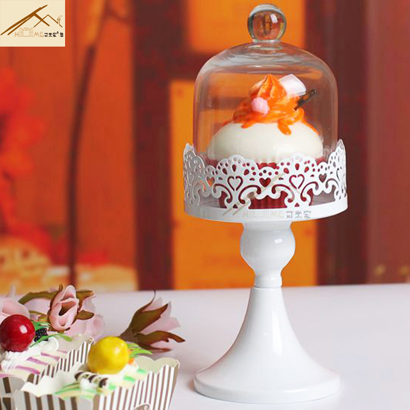 Aliexpress freeshipping europe wedding Glass cake cover tools iron lace cake plate holder Fruit dessert Preservation