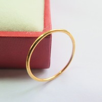 New Fine Pure 999 24K Yellow Gold Band Women Unique Ring 1 1.5g Size US 6.5