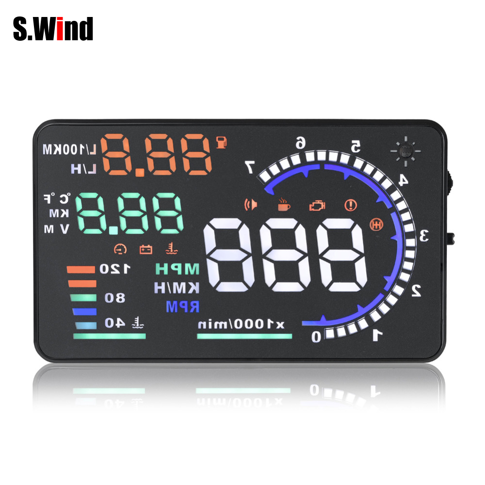 Universal A8 5.5 inch Car HUD Head Up Display OBD II 2 Speed Warning System Fuel Consumpt Warning Car Styling Free Shipping designing early warning system