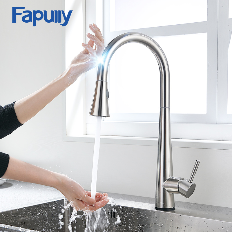 Fapully Kitchen Faucet Brushed Nickel Sensor Touch Sensitive Mixer Dual Outlet Hot And Cold Water Sink Tap Crane CP1053
