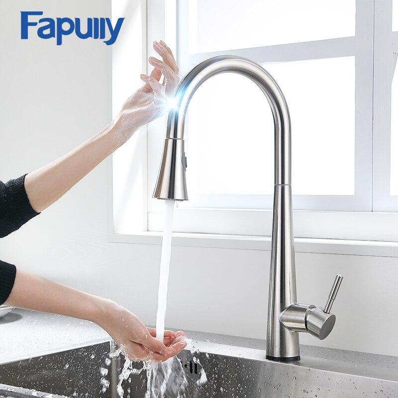 Fapully Smart Touch Control robinet de cuisine brossé noir sensible mélangeur tactile Induction robinet tirer vers le bas évier robinet grue CP1051