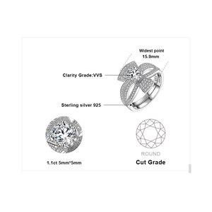 Image 5 - Jewelrypalaceラウンド 1ctキュービックジルコニアフローラリボンちょう結びスプ婚約リングセット 925 スターリングシルバージュエリーファッション