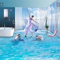 beibehang pvc flooring custom wall sticker pair of ocean dolphins 3d bathroom flooring painting photo 3d wall murals wallpaper