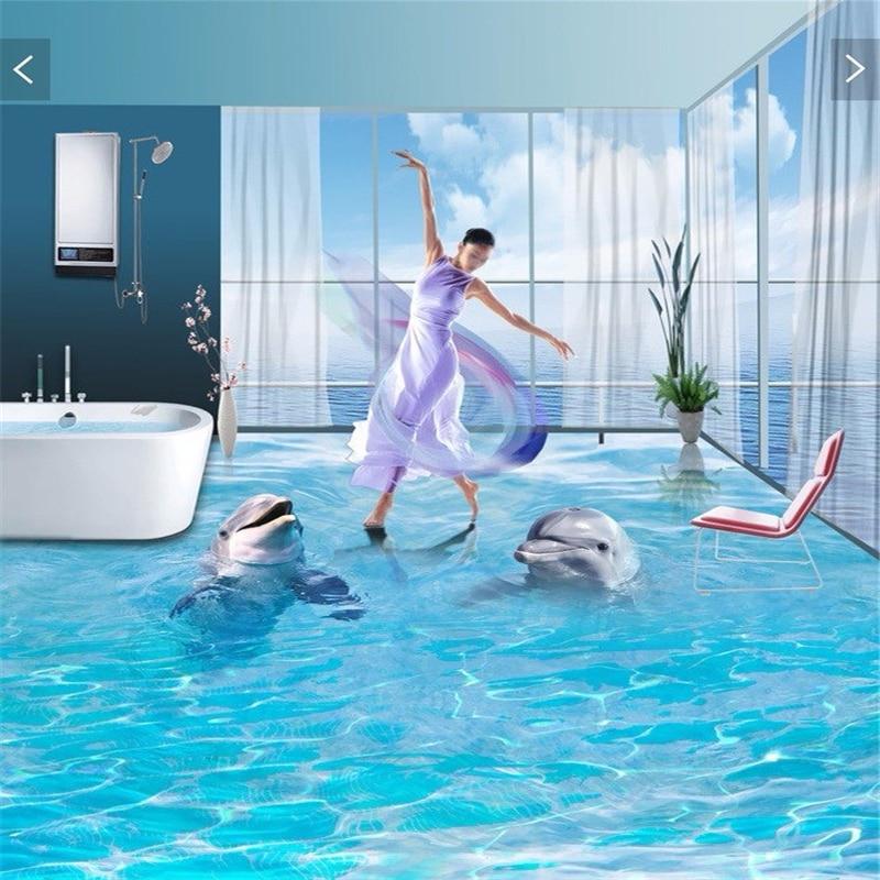 beibehang  pvc flooring custom wall sticker pair of ocean dolphins 3d bathroom flooring painting photo 3d wall murals wallpaper sticker encyclopedia ocean