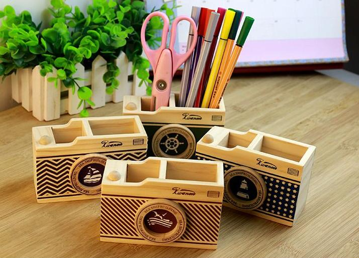 Creative Wooden Camera Pen Holder As Desk Organizer