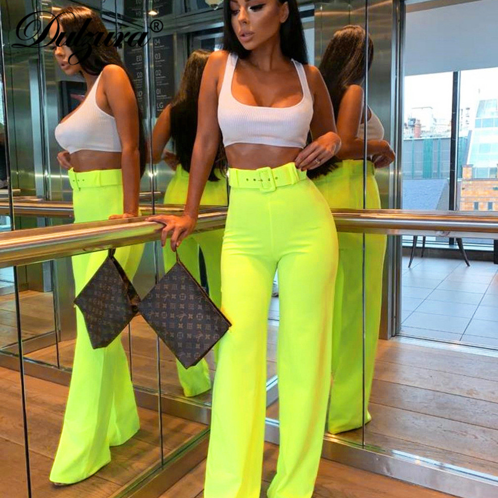 Dulzura 2019 summer women   wide     leg     pants   high waist streetwear festival plus size trousers loose clothes office ladies belt