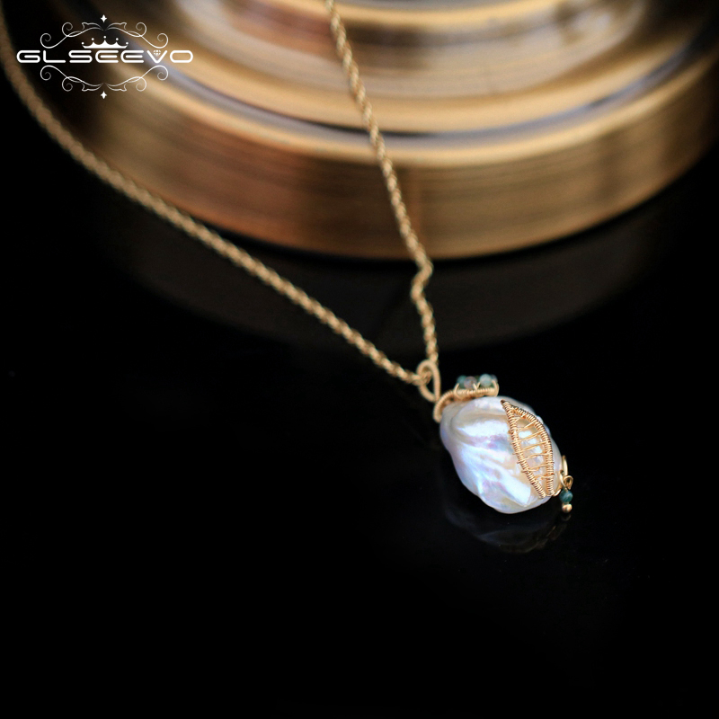 GLSEEVO Handmade Natural Fresh Water Baroque Pearl Pendant & Necklace For Women Wedding Jewelry Custom Necklace Kolye  GN0078
