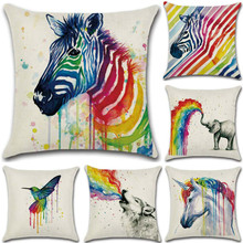 SBB New Colorful Animals elephant zebra Linen Cushion Cover Watercolor Rainbow Decorative throw cover Home Decor 45x45cm