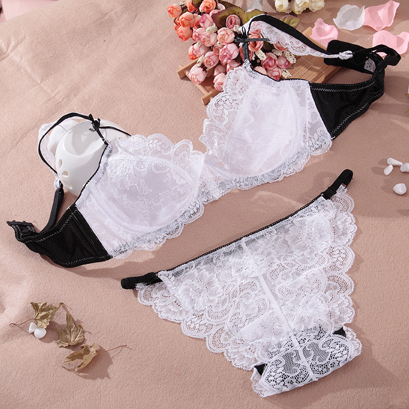 f327b8c0db LAUWOO Woman Lingerie Sets Underwear Set Ultra Thin Unlined Lace Bra Panties  Plunge Female Invisible Plus Size Brassiere Summer-in Bra   Brief Sets from  ...