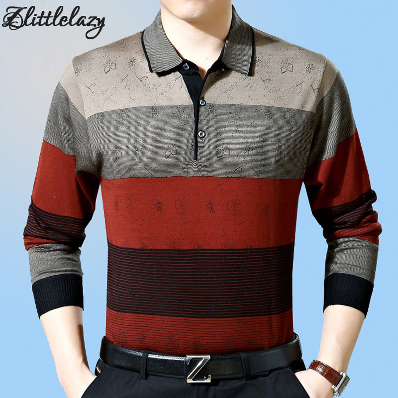2018 casual long sleeve business mens shirts male striped fashion brand   polo   shirt designer men tenis   polos   camisa social 288