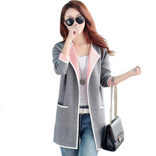 Women 'S Autumn Coat Grey /Pink Long Trench Coat Big Size Knitted Open Stitch Fe