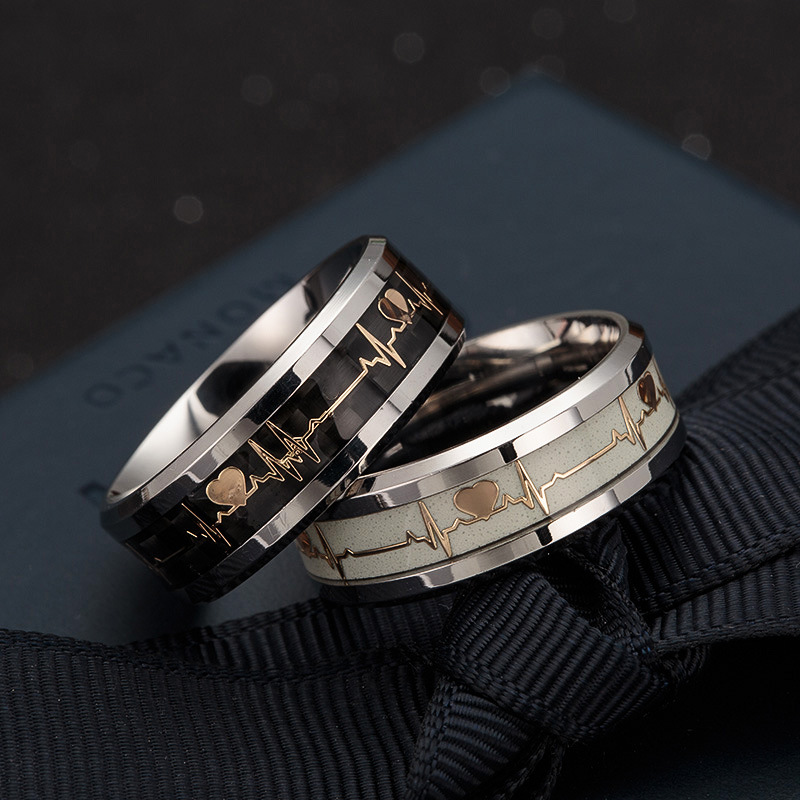 Luminous ECG Ring Stainless Steel Ring Promise Heartbeat Ring Glowing Jewelry for Men Women(China)