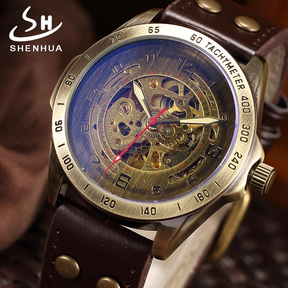 SHENHUA 2018 Vintage Skeleton Watch Men montre homme Automatic Mechanical Wrist Watches Transparent Bronze Watch Clock relogio цена 2017