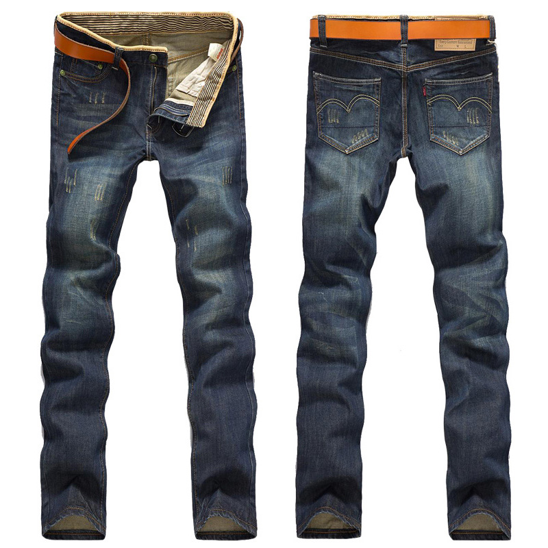 Men Straight Jeans Fashion Dark Blue Denim Trousers For Male Spring And Autumn Retro Pants Casual