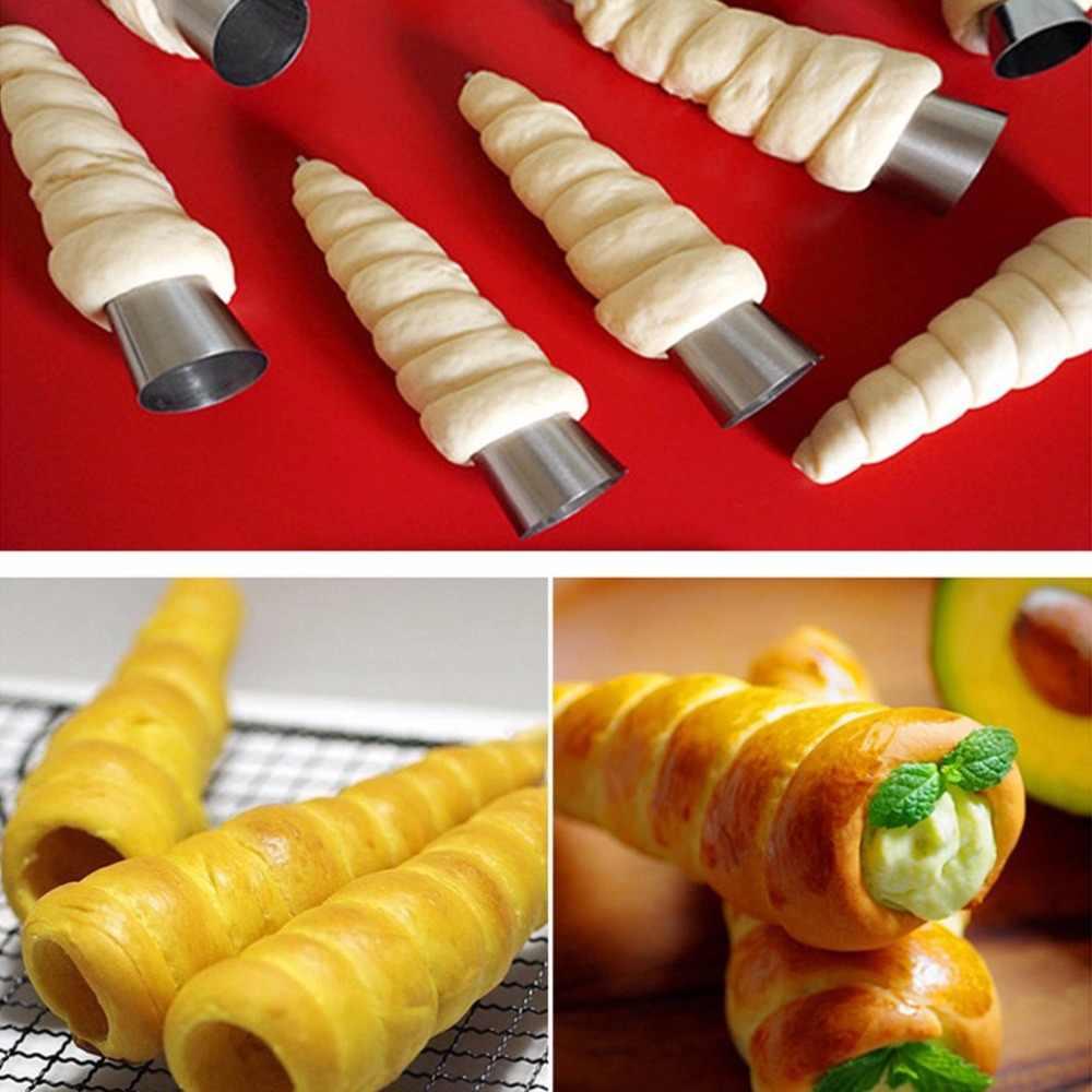 Aço inoxidável Cone Tubo Espiral Croissants DIY Ferramenta Essencial Chifre Molde de Cozimento para Bolos de Pastelaria Rolamento