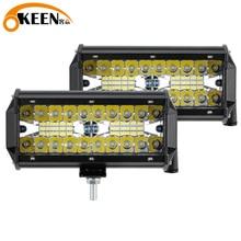 OKEEN LED Light Bar 7Inch Spot Flood Combo Off Road Lights 12V 120W LED Driving Fog Work Light for Jeep Trucks ATV Buggy UTV SUV