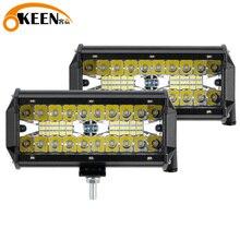 OKEEN LED ışık çubuğu 7 inç nokta taşkın Combo Off Road ışıkları 12V 120W LED sürüş sis çalışma jip için lamba kamyon ATV Buggy UTV SUV