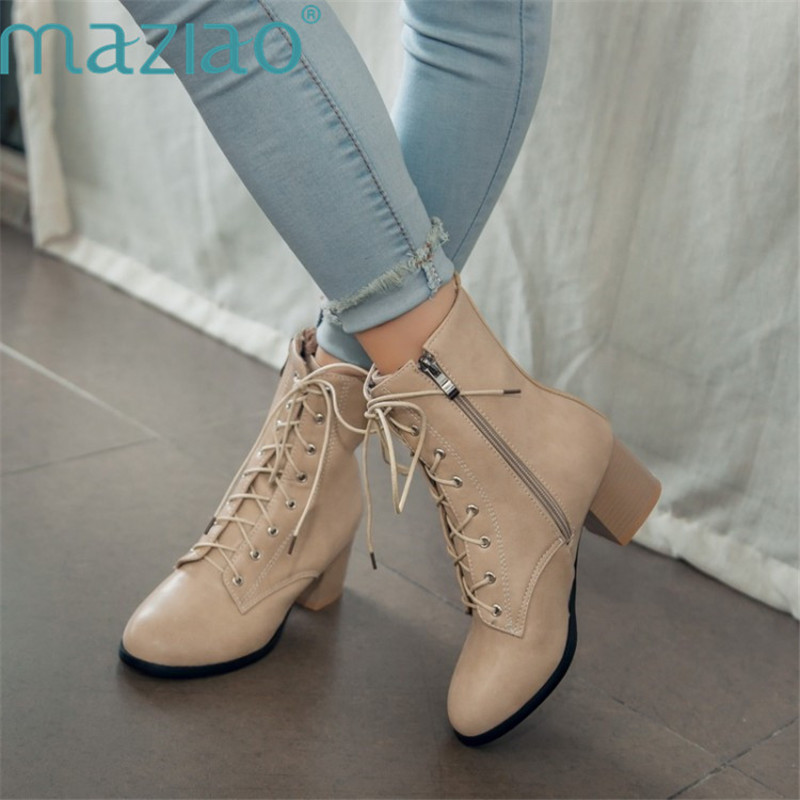 New Fashion Sexy Women's Ankle Boots Lace Up Med Heels Pointed Toe Autumn Winter Snow Boots Ladies Cross Strap Shoes MAZIAO