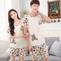 Couple pajamas set 100% cotton pajamas pajamas spring and autumn men and women summer short sleeve sleepwear lover night suits