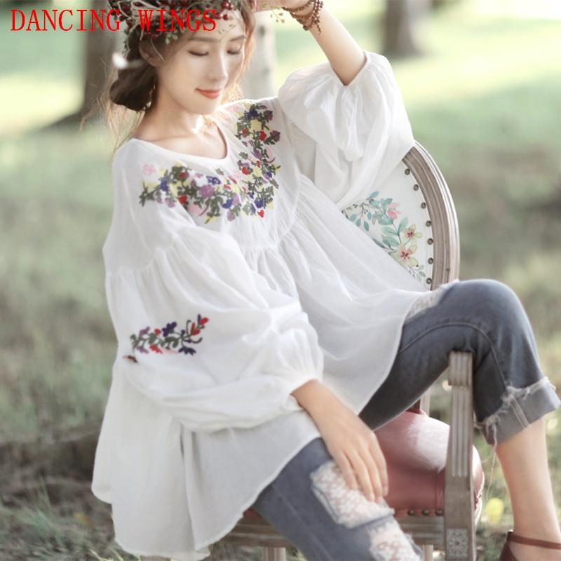 Nouveau été Vintage fleurs broderie Blouse lanterne manches col rond femmes lâche blanc Blouse chemise blusas mujer