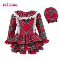 England Style Grid Dress Children Girl Princess Layered Dresses Hat Baby Long Sleeve Fashion Winter Autumn