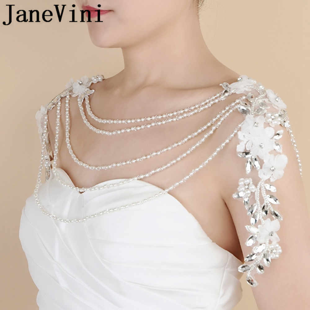 Janevini Berlian Imitasi Kristal Kalung Pengantin Pernikahan Bahu Rantai Panjang Kalung Bride Handmade Bunga Renda-Up Wrap