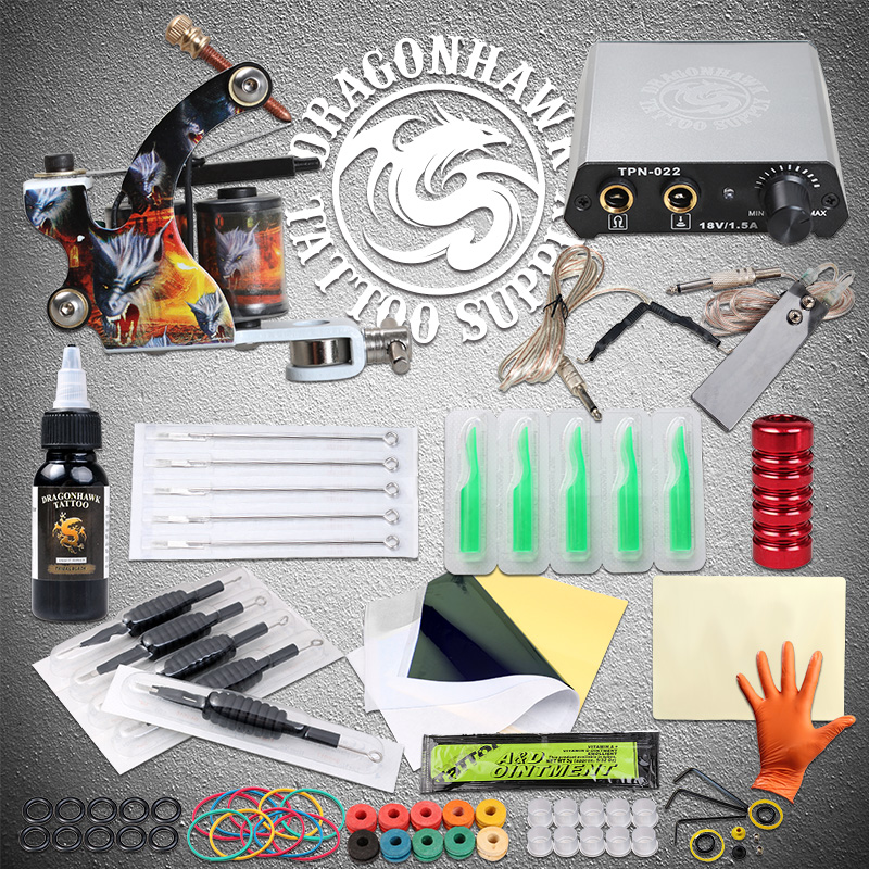 Beginner Tattoo kits Tattoo Machine Power Supply Needles Tattoo Ink Complete Set Free shipping