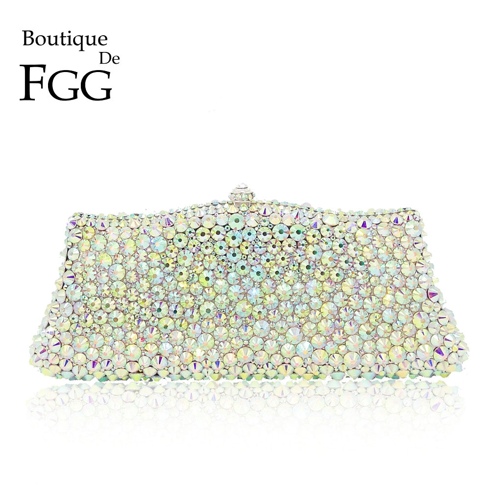 Boutique De FGG Sparkling Dazzling Silver AB Crystal Women Evening Purses Handbag Wedding Party Dinner Bridal Diamond Clutch Bag цены онлайн