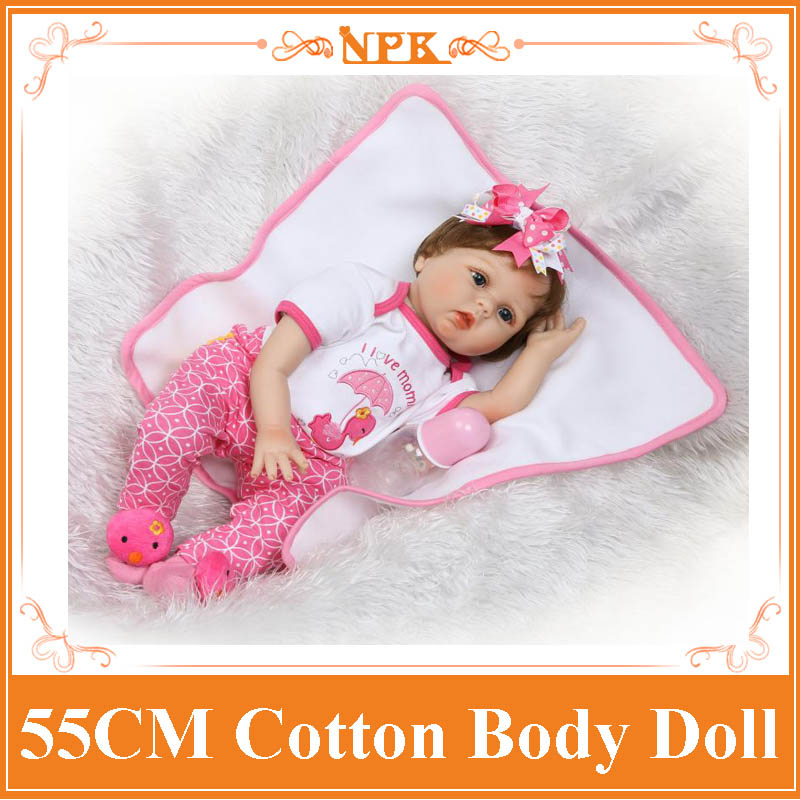 "Newest NPK 22"" Lifelike Bebe Reborn Doll Soft Silicone Cloth Body Lovely Baby Dolls Children Playmate Toys Girls Birthday Gift"