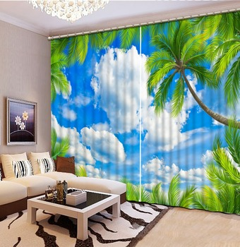Custom Curtains 3D Blackout Window Curtains Curtains for Living Room Bedroom Blue sky, white clouds, coconut palm 3D Curtains