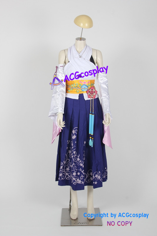 Final Fantasy X 10 Yuna cosplay costume include necklace ear rings finger ring beads chain
