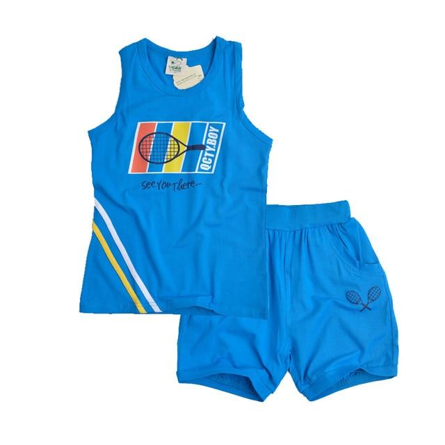 62f0bd404a769 Genç Erkek Giyim Setleri Pamuk Yelek ve Şort Mektup Erkek Spor Takım Elbise  Yaz Kıyafetler Çocuklar