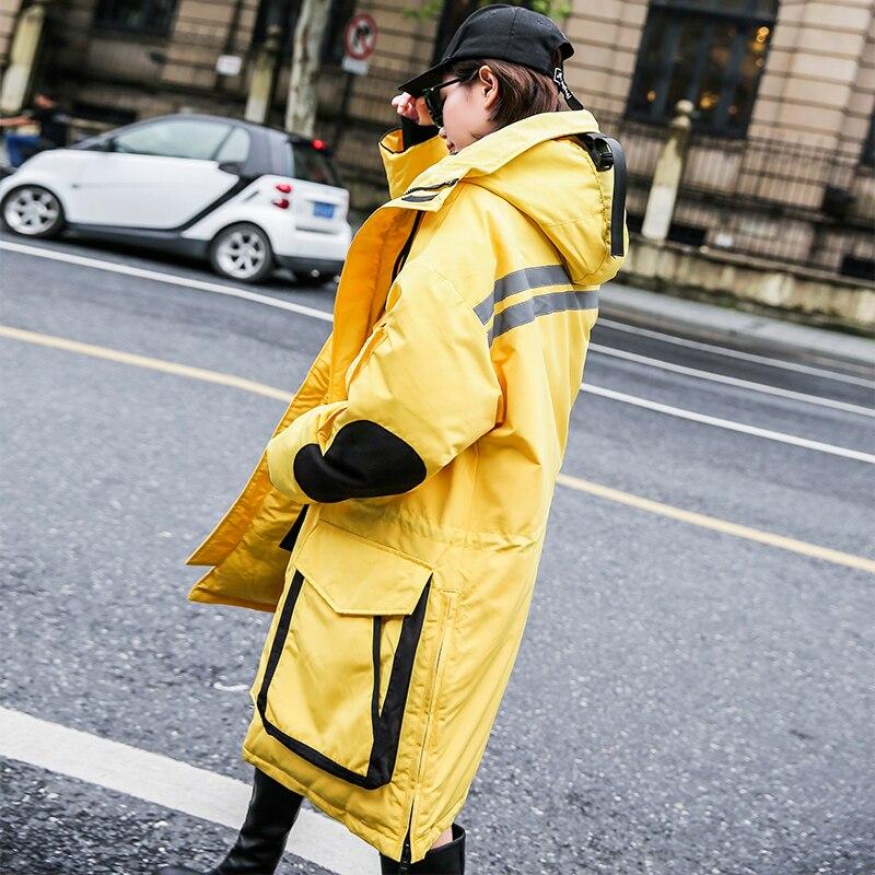 Femmes Yellow Parkas Pardessus Veste Streetwear La Taille Femelle Parka Capuche Nouvelle D'hiver Chaud 2018 Mode Survêtement Manteau Épais Plus qqUxwdrnT