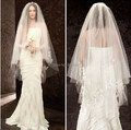 Free shipping 2 Tier Ivory Beads Bridal Wedding Veil  with Comb Bead Edge SEM-108