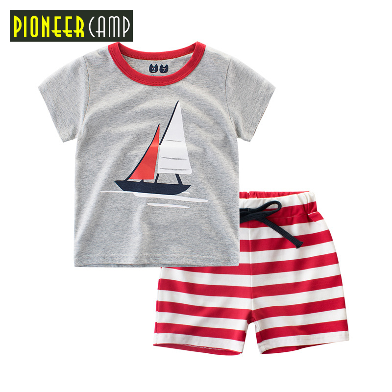 Pioneer Camp Kids Boys Clothing Children Summer Boys Clothes Cartoon Kids Boy Clothing Set T-shit+Pants 100% Cotton