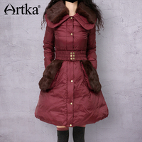 Artka Women S Winter Vintage Turn Down Collar Full Sleeve Patchwork Single Breasted Belt Soft Down