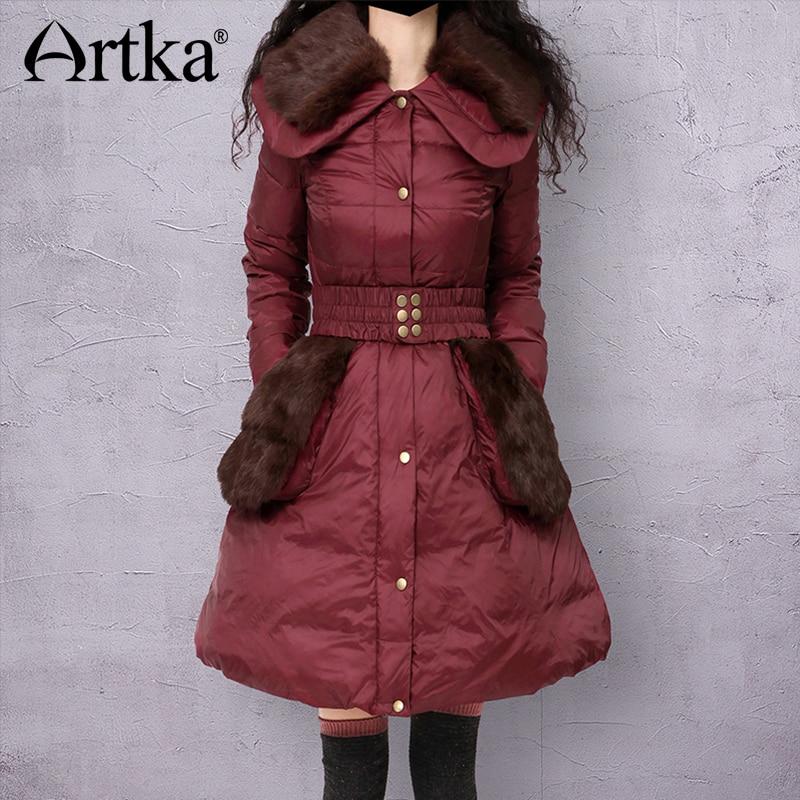 Artka Down Coat Women 2018 Winter Outerwear With Detachable Fur Warm Parka Female Raincoat Duck Down Jacket With Belt CK16232D