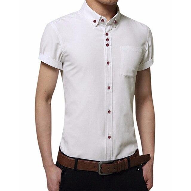 Plus Size Shirt Fashion Mens Dress Shirt 2017 Slim Fit Bussiness Shirt Cotton Polyester Short Sleeve Shirt Turn Down Collar