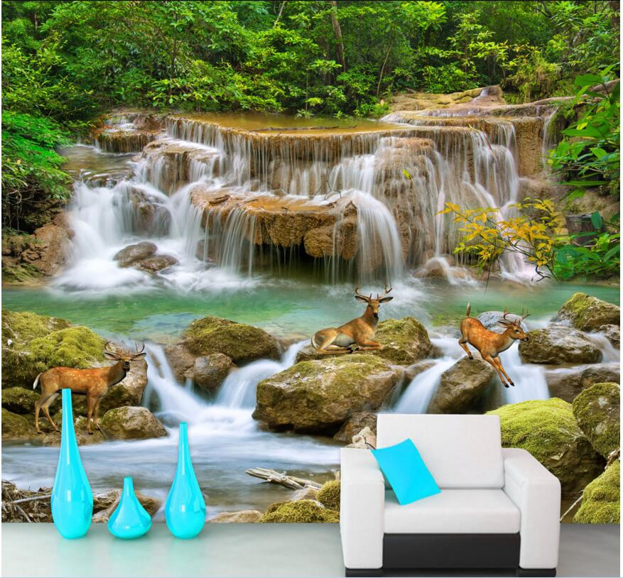 Custom Mural Photo 3d Wall Paper Picture Hd Streams Waterfall Deer Room Decor Painting 3d Wall Murals Wallpaper For Wall 3 D