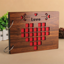 Photo Album 8 Inch Wooden Cover Manual DIY Personalized Baby Couple Friends Family Gift
