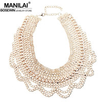 MANILAI Fashion Multilayers Alloy Link Chain Women Accessories New Wide Tassel Bib Collar Chokers Statement Necklaces