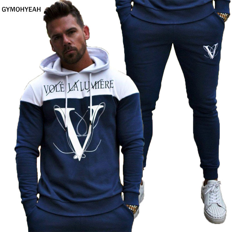 GYMOHYEAH NEW Sporting Suits Mens Fashion Tracksuit Men Trainingspak Survetement Men's Sportwear Suit Hoodies Tracksuit Set Male